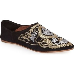 Jeffrey Campbell Vijay Black Suede Embroided Flats